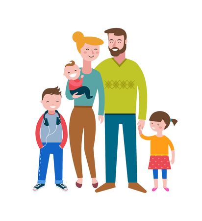 family illustration: Happy family, making fun, couple with kids, vector illustration