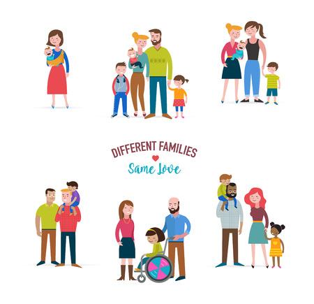 niños discapacitados: familia gay, diferentes tipos de familias, niños con necesidades especiales, coulpe mezclado Vectores