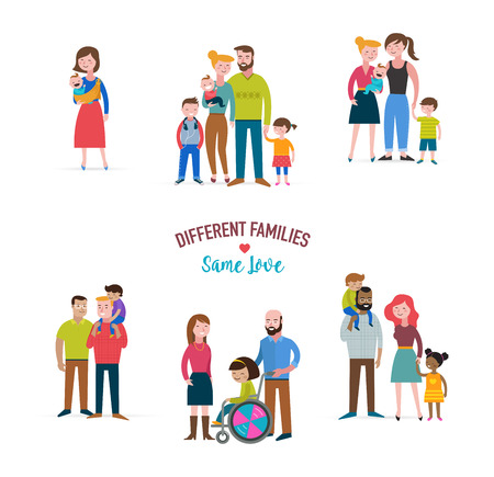 gay family, different kind of families, special needs child, blended coulpe Stock Illustratie