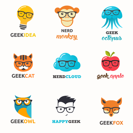 boy with glasses: Geek, nerd, smart hipster icons - animals, cloud, boy, man and fox Illustration