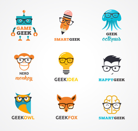 geek: Geek, nerd, smart hipster icons - animals, cloud, boy, light bulb, brain Illustration