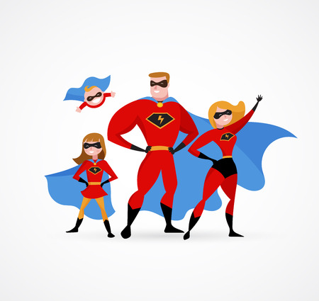 Super family in superhero costumes - parents and kids Vectores