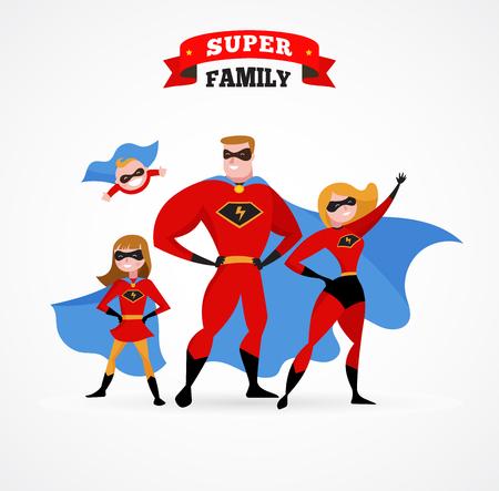 cartoon carnival: Super family in superhero costumes - parents and kids Illustration