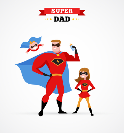 mom and dad: Super daddy make fun in superhero costume with kids