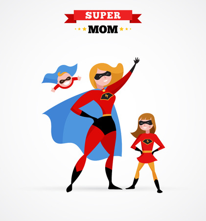 スーパー母はスーパー ヒーロー コスチュームで楽しく子供とお母さん  イラスト・ベクター素材