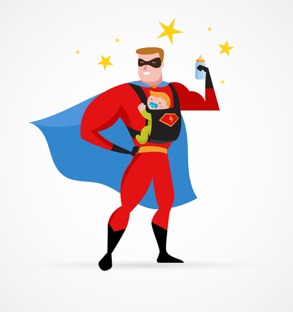 Super papa make fun in superheld kostuum met draagzak