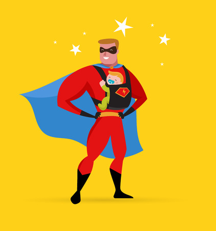 super dad: Super daddy make fun in superhero costume with baby carrier