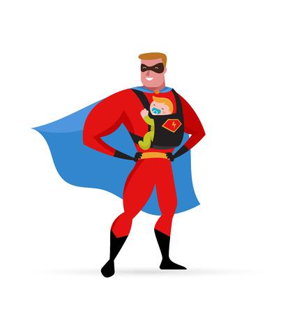 슈퍼 아빠는 베이비 캐리어로 슈퍼 히어로 의상을 즐겁게합니다. 일러스트