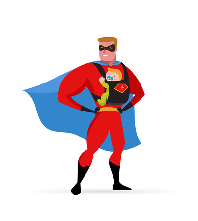 Super daddy make fun in superhero costume with baby carrier