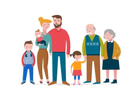 Familia feliz, burlarse, pareja con niños, bebés y grandparens Ilustración de vector