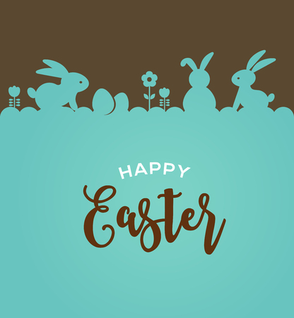 Easter design with cute banny and lettering, hand drawn vector illustration