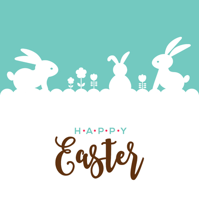 Easter design with cute banny and lettering, hand drawn vector illustration Vettoriali