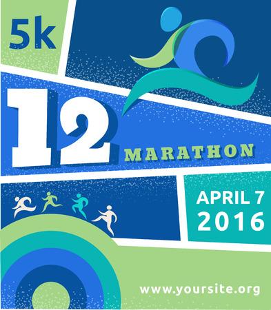 Running marathon, people run, sport poster
