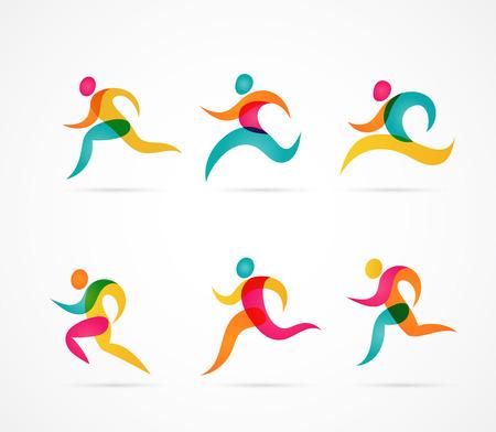 coureur: Courir marathon gens colorés icônes et éléments