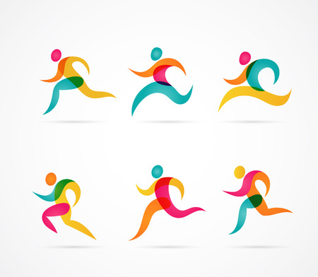 Running marathon colorful people icons and elements Çizim
