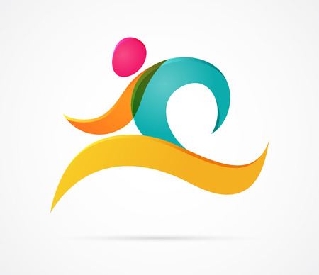 Running marathon colorful people icon and element