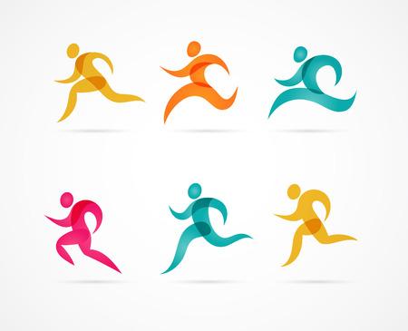 silueta hombre: Correr Maratón coloridos iconos y elementos
