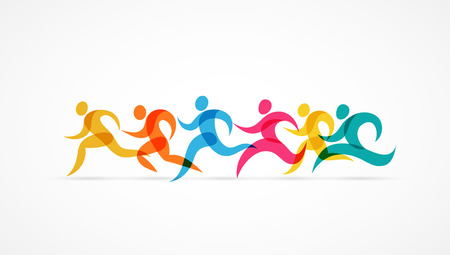 Running marathon colorful people icons and elements Иллюстрация