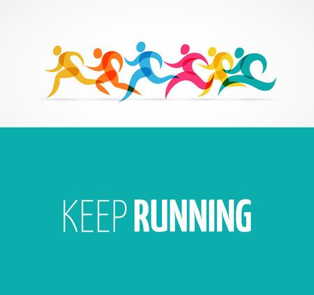 non profit: Running marathon colorful people icons and elements Illustration