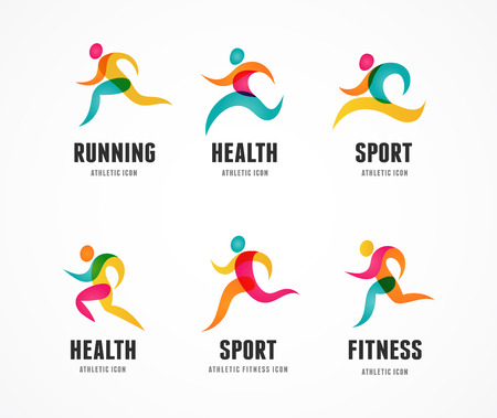 Running marathon colorful people icons and elements Vettoriali
