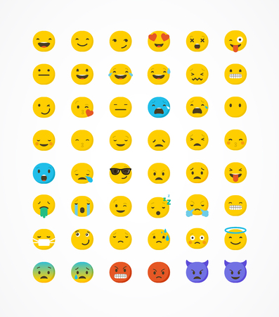 caras felices: iconos conjunto de vectores icono gestual. Cara de emoticon sobre un fondo blanco. icono emoticono. colección de emociones diferentes. diseño plano emoticon Vectores