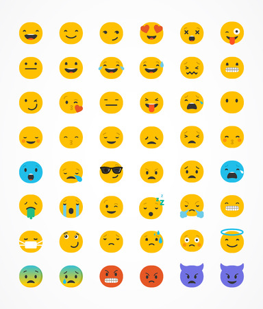 lol: Emoticon vector icons set. Emoticon face on a white background. Emoticon icon. Different emotions collection. Emoticon flat design