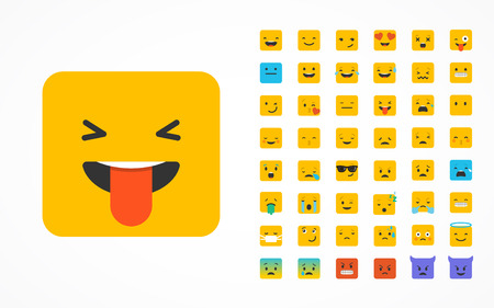 angry person: Emoticon vector icons set. Emoticon face on a white background. Emoticon icon. Different emotions collection. Emoticon flat design