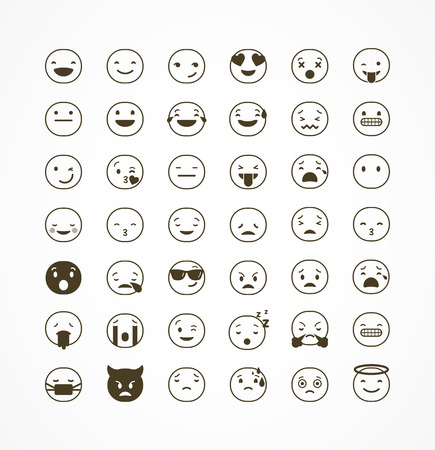 tongues: Emoticon vector icons set. Emoticon face on a white background. Emoticon icon. Different emotions collection. Emoticon flat design