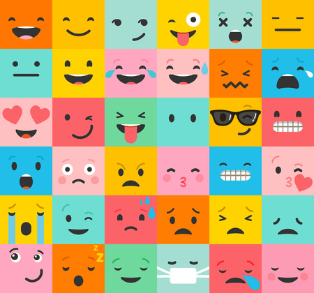sad: Emoticon colorful vector icons set. Emoticon faces , set of icons. Different emotions collection. Emoticon flat pattern design