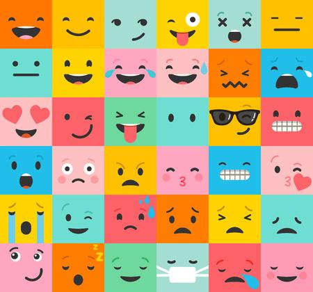caritas felices: establecen emoticon coloridos iconos vectoriales. emoticon, caras conjunto de iconos. colección de emociones diferentes. diseño de patrón plano emoticon Vectores