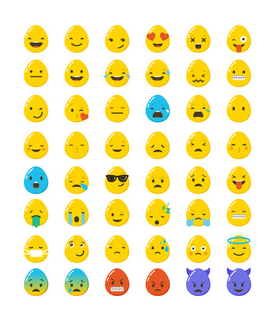 egg: Emoticon Easter eggs icons set. Emoticon face on a white background. Emoticon icon. Different emotions collection. Emoticon flat design Illustration