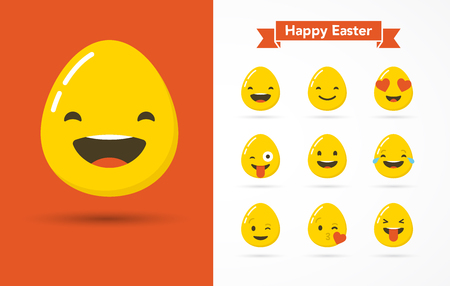 emotion: Emoticon Happy Easter eggs icons set, greeting card. Emoticon face on a white background. Emoticon icon. Different emotions collection. Emoticon flat design