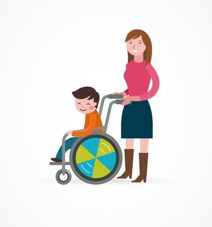 blind girl: disabled child in a wheelchair with parent, vector illustration Illustration
