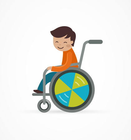 blind girl: disabled child, boy in a wheelchair, vector illustration
