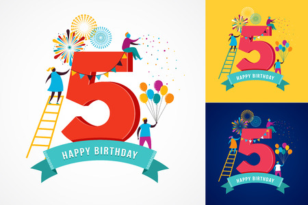 people celebrating: anniversary - background with people celebrating icons, elements and numbers