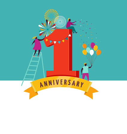 numero uno: aniversario - fondo con la gente celebrando iconos, elementos y referencias