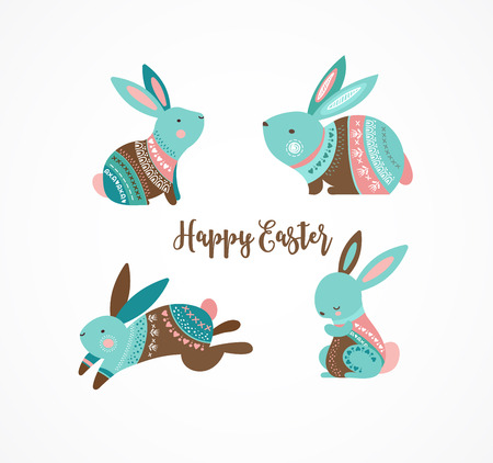 Easter cute patterned bunnies and rabbits collection