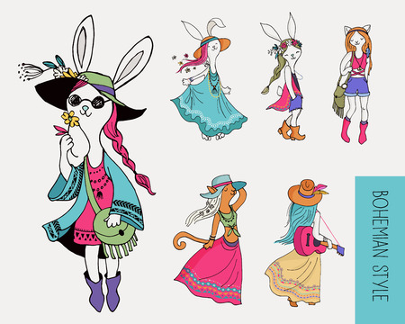 gypsy: Bohemian fashion girls , bunny and cats, boho chic , gypsy style