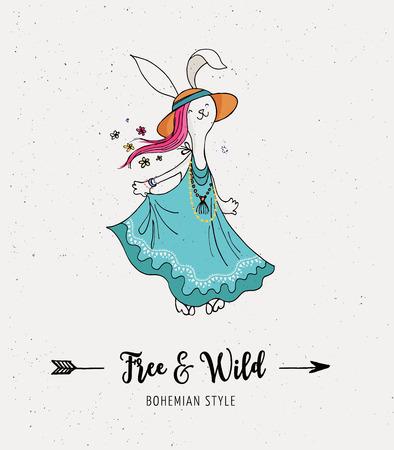 gypsy: Bohemian fashion, bunny, rabbit girl, boho chic and gypsy style Illustration
