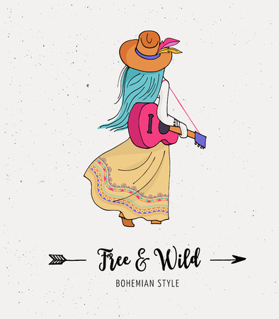 Bohemian fashion girl with guitar, boho chic and gypsy style Illustration