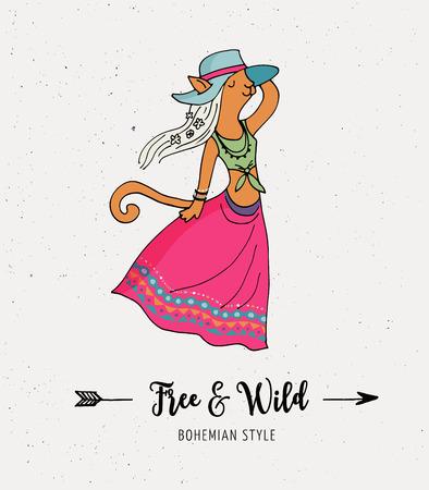gypsy: Bohemian fashion, cat girl, boho chic and gypsy style