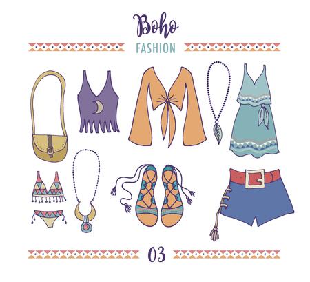 moda ropa: juego de estilo de la manera de Bohemia, y boho hippie, ropa gitana ilustración