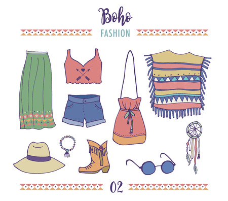 fashion clothes: Bohemian fashion style set, boho and hippie, gypsy clothes illustration