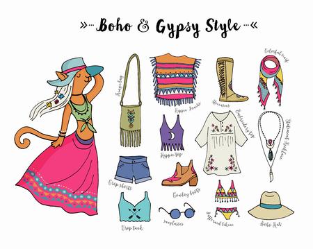 gypsy: Bohemian fashion style set, boho and hippie, gypsy clothes illustration