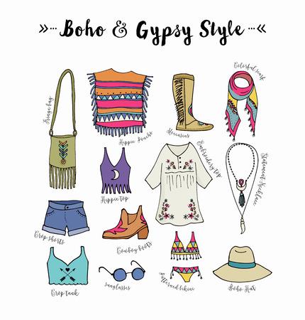 fashion set: Bohemian fashion style set, boho and hippie, gypsy clothes illustration