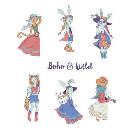 gitana: muchachas de la manera de Bohemia, conejo y gatos, boho elegancia, estilo gitano