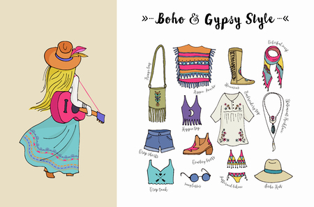 Bohemian fashion style set, boho and hippie, gypsy clothes illustration