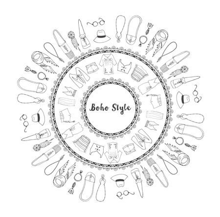 gypsy: Bohemian fashion style set, boho and hippie, gypsy clothes mandala Illustration