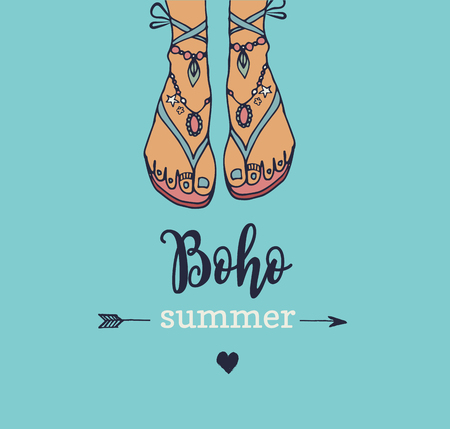 Bohemian, hippie summer vector poster with womans sandals