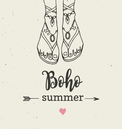 bohemian: Bohemian, hippie summer vector poster with womans sandals